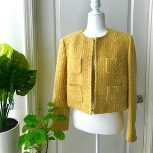 Moschino yellow tweed blazer NWT